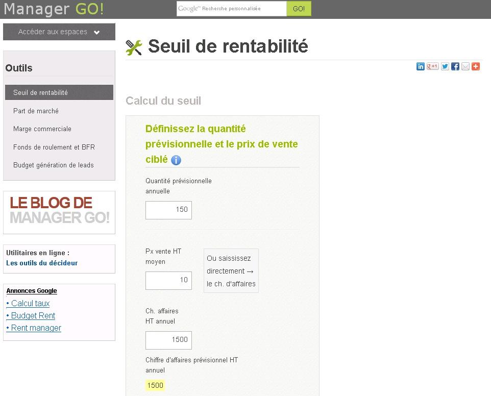 Outil De Calcul Du Seuil De Rentabilite L Entrepreneur Du